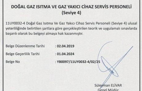 Servis İzmir Meslek Yeterlilik Belgesi