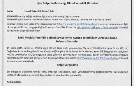 Servis İzmir Yetkinlik Belgesi